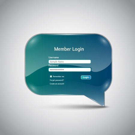 Speech bubble  Member Login  interface Vector