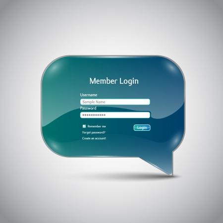 Speech bubble  Member Login  interface Ilustracja