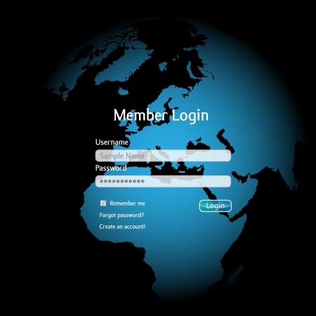 web page elements: Login interface Illustration
