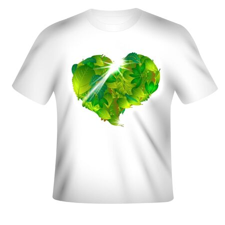 t-shirt design with leaf-heart Illustration