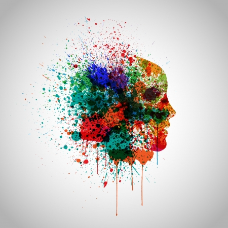 splattered: Splash colorful with a face silhouette