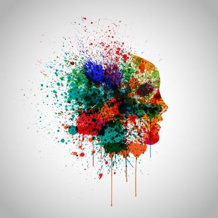 Splash kleurrijk met een gezicht silhouet Stock Illustratie