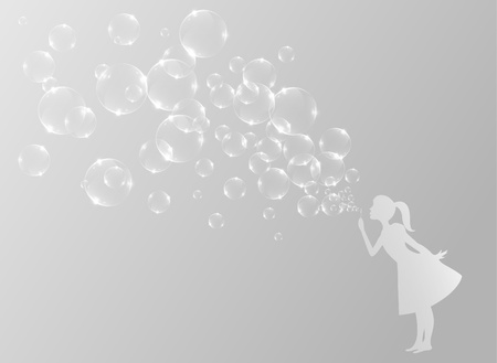 Little girl blowing bubbles Illustration