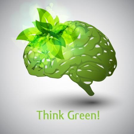Piensa Verde Cerebro Ilustración de vector