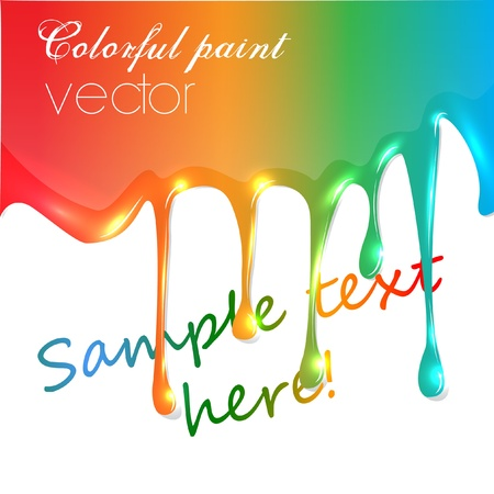 realistic vector colorful paint trickling Vector