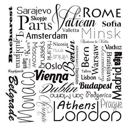 Europese hoofdsteden Stock Illustratie