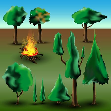 Tree and bush set with fire Stock Vector - 17617827