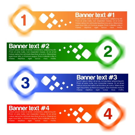 Een reeks van vier vector banner