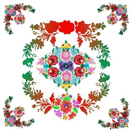 hungary: Hungarian  matyo  folk vector pattern