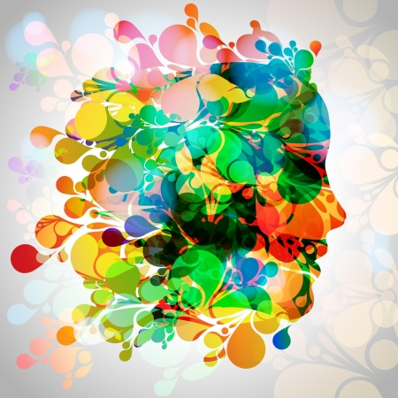 feminize: Colorful woman face with leaves Illustration