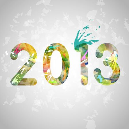 Colorful New Year illustration with paint Vector