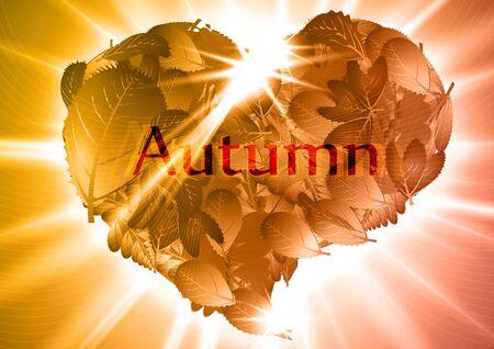 Autumn leaf heart  illustration Vector