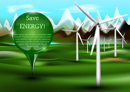 Wind power plants with pin Stock Vector - 17618156