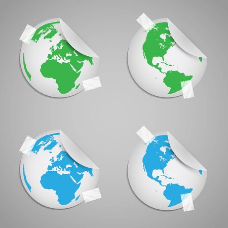 Sticker world with eco signs Stock Vector - 17618014