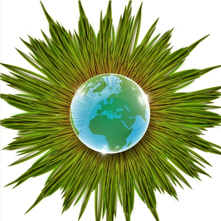 Earth with grass eco vector Vector