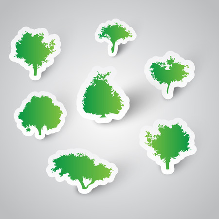 environmental science: 7 trees made of stickers Illustration