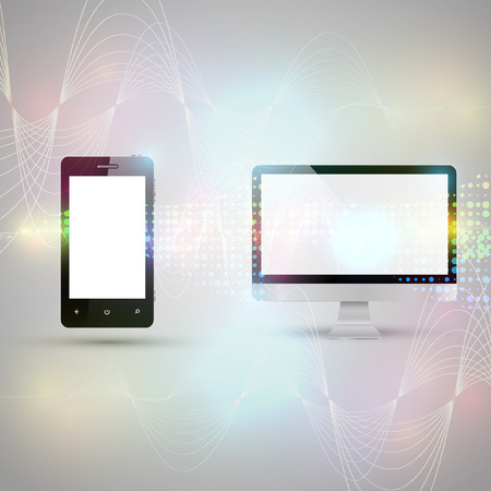 wireless communication: Mobile phone and computer communicating on abstract background