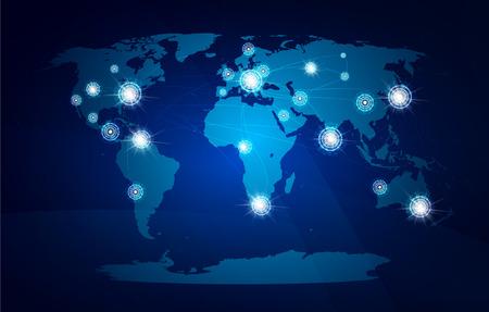 Modern globe connections network design illustration Illustration