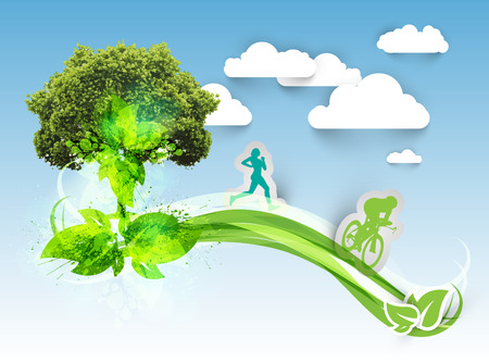bicycling: Vector illustration of single tree on a kandscape with running and cycling man Illustration