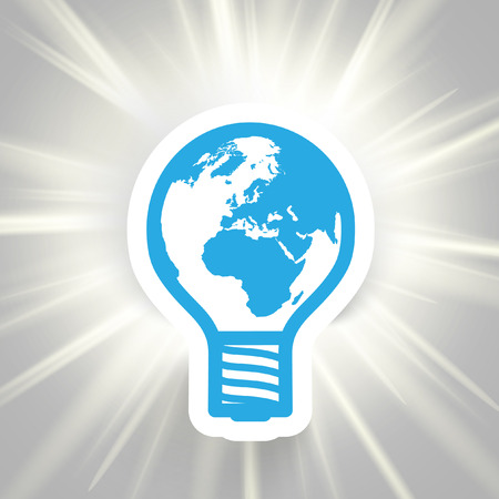 Vector bulb Earth paper illustration to save energy Illustration