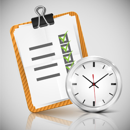 office clock: Vector illustration of office clock and check list
