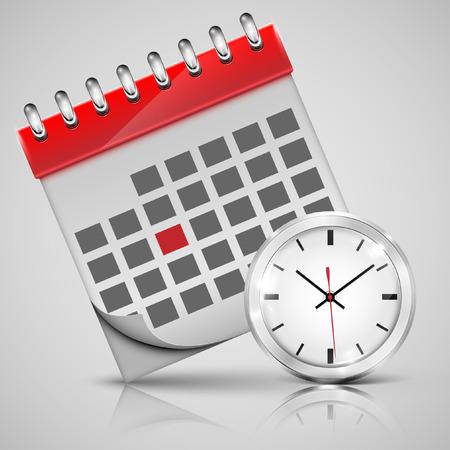 Vector calendar with a clock Illustration