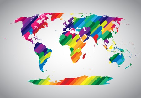 Colorful world map Illusztráció