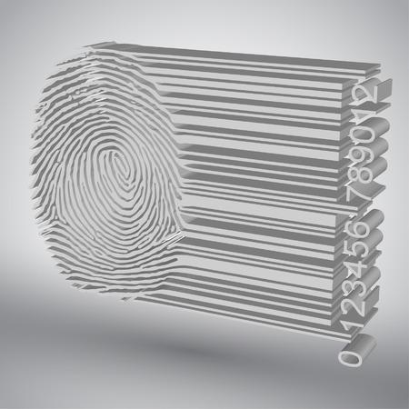 forensics: Fingerprint becoming barcode illustration