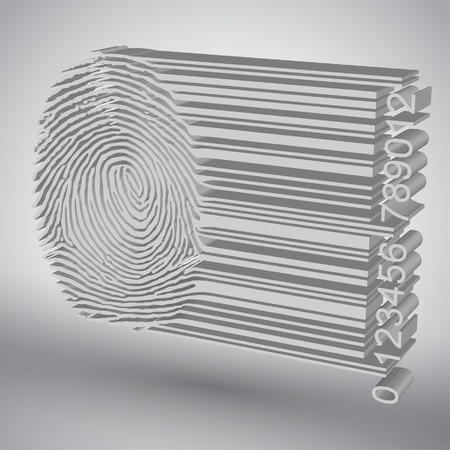 Fingerprint becoming barcode illustration