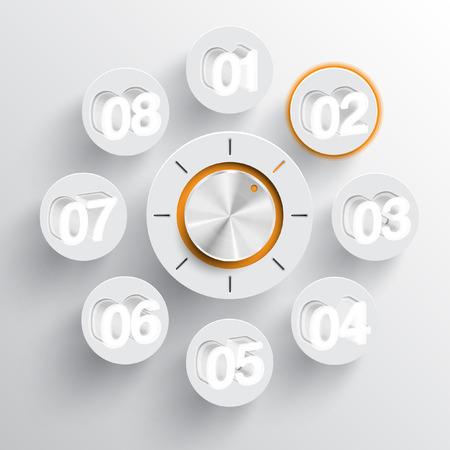 hi fi: Technology music volume or switch button Illustration