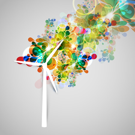 rural development: Colorful wind generator illustration Illustration