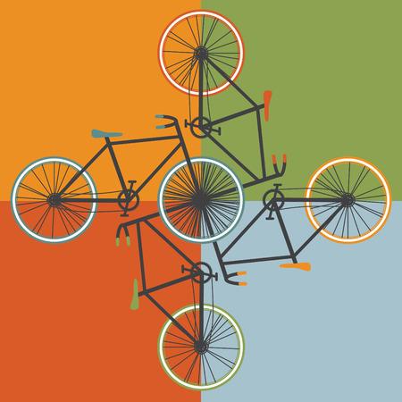 오래 된 학교 스타일 자전거 그림