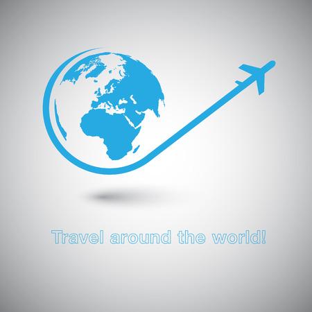 Reis rond de Wereld icoon Plane Stock Illustratie