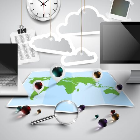 World map in 3D with office tools, cloudy