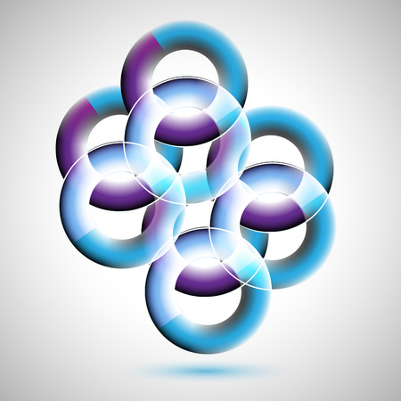 three layered: 3D rings abstract background