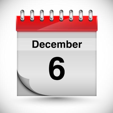 december: Calendar for december 6