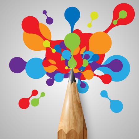 カラフルな図形付きの鉛筆  イラスト・ベクター素材