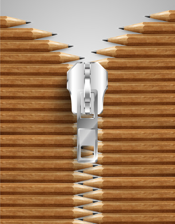 Grey wooden pencils with opening zipper Illustration