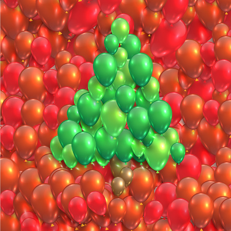 Christmas tree made by balloons Vector