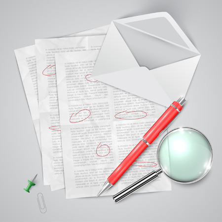 Office or school stuffs and items on white background Vector