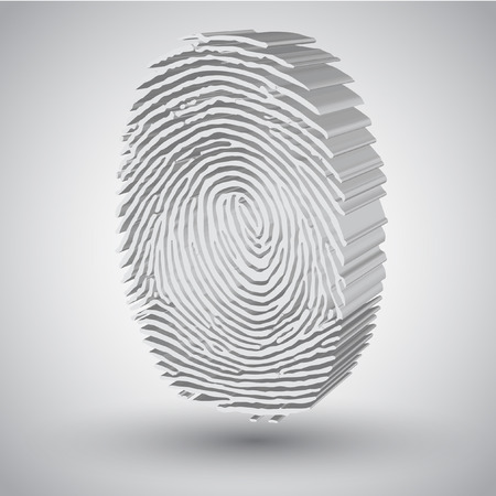 biometric: Fingerprint in 3D vector illustration