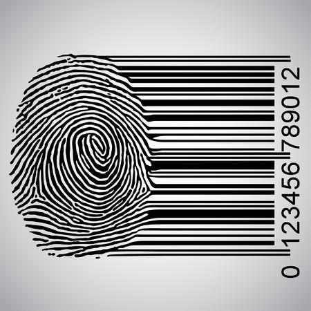 identidad: De huellas dactilares convertirse ilustración de código de barras