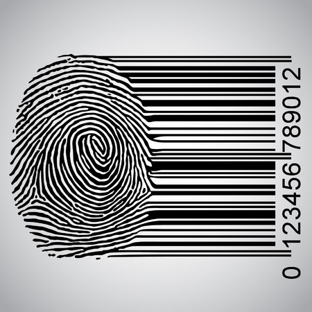 Fingerprint becoming barcode illustration