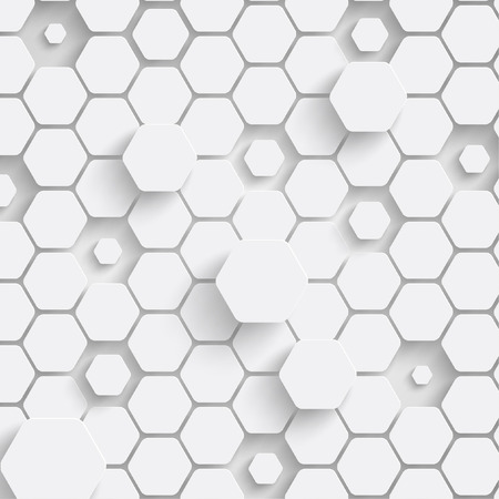 Paper hexagon background with drop shadows. Vector illustration