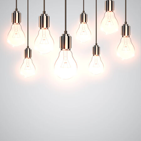 Realistic lightbulbs hanging and working, vector
