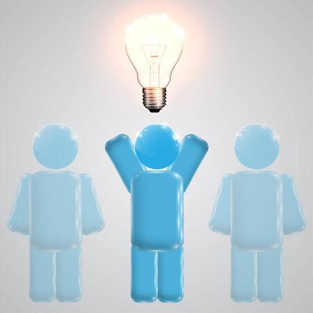 teammates: A man with an idea - lightbulb on the head, vector