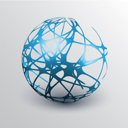 wire globe: Globe with orbits, vector illustration