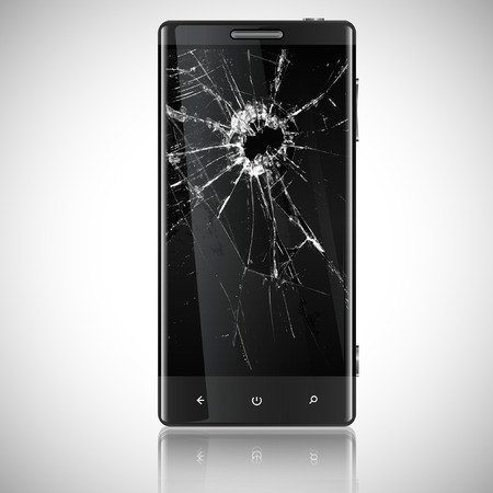 mobile phone screen: Broken mobile phone Illustration