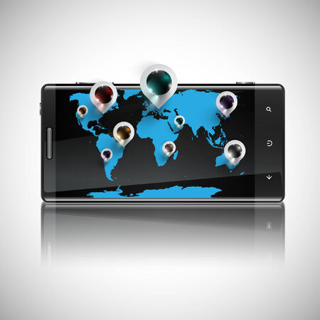 smartdigital: World map with 3D pins on a telephone