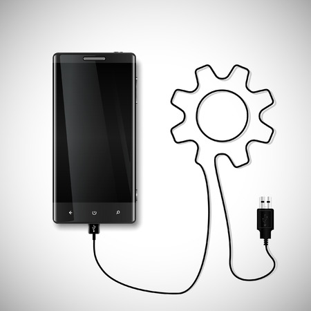 Mobile phone with USB connection Vector